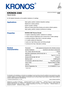 KRONOS 2360 safety data sheet